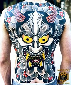 Fullback Hannya tattoo done by artist 🔥 Japanese Demon Tattoo, Japanese Back Tattoo, Japanese Tattoo Designs, Japanese Sleeve Tattoos, Chest Piece Tattoos, Body Art Tattoos, Hannya Maske Tattoo, Ronin Samurai, Full Back Tattoos