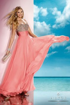 Prom Dresses<BR>Evening Dresses by ALYCE B'DAZZLE<BR>35585<BR>Spaghetti strap A-Line long dress fully beaded bodice and straps<BR>