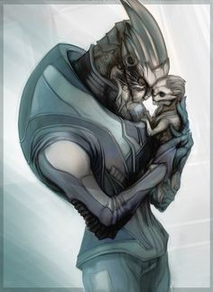 Garrus and a baby turian.  A beautiful piece of artwork!