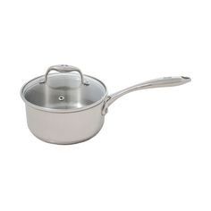 1.5QT Covered Saucepan - features include a 0.7mm stainless steel body with vented tempered-glass lids and cast steel riveted handles.  The encapsulated base is a 3mm TuxCORE aluminum disc.  Easy to clean, this dishwasher and oven-safe set comes with a LIFETIME GUARANTEE.