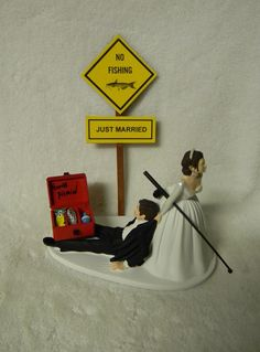 """Wedding Just Married Fishing Cake Topper Tackle Box Pole ~Bride Dragging Groom~ FOR SALE • £46.73 • See Photos! Money Back Guarantee. You are Viewing Brand New Design Bride Dragging Groom """"Gone Fishing"""" Cake Topper. Designed to Add Fun and Humor to any Wedding Cake. Design with Red Tackle Box (Inside Tackle 291072624906"""