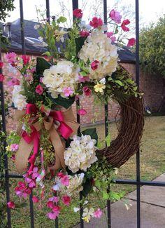 Hydrangea Wreath, Mothers Day Wreath, Summer Wreath, Easter  Wreath, Spring Wreath, Front Door Wreath, Whimsical Wreath, Everyday Wreath
