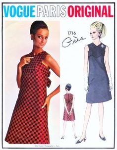1960s Cocktail Evening Dress Pattern Vogue Paris Original 1716 Perfect Little Black Dress Bust 31 Vintage Sewing Pattern