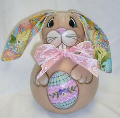 Gourd Easter Bunny with Easter Egg  Hand Painted by FromGramsHouse