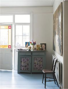 Floor in Lulworth Blue Floor Paint- farrow & ball floor paint Hallway Colour Schemes, Hallway Paint Colors, Paint Colours, Farrow Ball, Painted Floorboards, Painted Floors, Painted Furniture, Painted Stairs, Diy Furniture