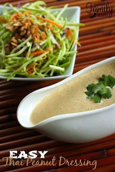 This Easy and Creamy Thai Peanut Dressing is your salad's new best friend.  It is a delicious and tangy dressing that tastes amazing on green salads, cold pasta salads, or for just dipping in veggies one at a time.  I am in love with Thai flavors, especially peanut sauce!  I found a similar dressing at Trader Joe's awhile back but it just didn't quite have the flavor I was hoping it would.  I knew then that I needed to figure out a version of my own.
