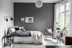 Scandi bedroom with grey feature wall