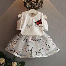 2016 Fashion Summer Children Girls Butterfly Letters T shirts Floral +TUTU Skirt…