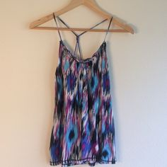 🎉CLOSEOUT SALE🎉 Purple and blue tank top Adorable racer back with the perfect colors for spring or summer! Light Cotton material! Have questions on the size? Ask! I'm happy to provide all measurements! NO TRADES/PAYPAL! Fast shipping! No swaps! Tops Tank Tops