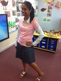Work wear for a primary school teacher stripy tee shirt denim skirt
