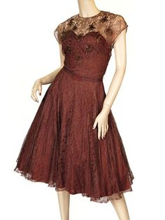 Brown Lace Cocktail Dress Carnival Beads 1940'S