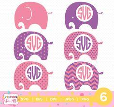 Pink Elephants Monogram SVG, Elephants Monogram Font, SVG Files, Baby Decoration Silhouette Cut Files, Cricut Cut Files by VectorsForAll on Etsy