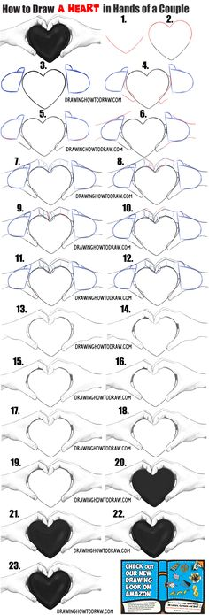How to Draw Couple's Hands Holding a Heart for Valentine's Day Easy Step by Step Drawing Tutorial draw 2 realistic hands holding a heart drawing tutorial How To Draw Steps, Learn To Draw, How To Draw Hands, Holding Hands Drawing, Heart Hands Drawing, Couple Drawings, Easy Drawings, Pencil Drawings, Drawing Lessons