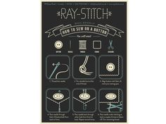 """""""Mend It"""" Postcard #1 How to Sew on a Button 