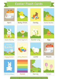 Free printable Easter flash cards. Download them in PDF format at http://flashcardfox.com/download/easter-flash-cards/