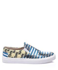 Los Ojo Pineapple blue leather slip-on sneakers
