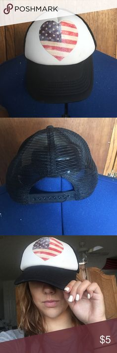 Ball Cap Mesh Americana Hat. Ball cap style with a mesh back and adjustable snaps. Like new condition, never worn. Rue 21 Accessories Hats