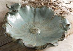 """10"""" Aqua Anemone Ceramic Bird Feeder"""
