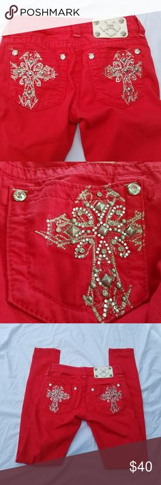 Miss Me Red Embellished Skinny Denim Jeans Size 24   **There are a few missing rhinestones on right back pocket. Not really noticeable. See 2nd picture.**  Back pockets are embellished with rivets, rhinestones & embroidery Skinny Jeans 89% Cotton, 8% T400, & 3% Elastane  Measurements Waist is Rise is Inseam is  Leg Opening is Miss Me Jeans Skinny