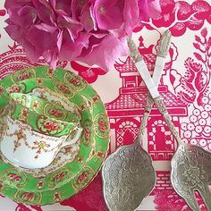 Green chinoiserie cup and saucer and pink toile