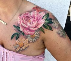 Peonie tattoo, garden flowers, watercolor tattoo