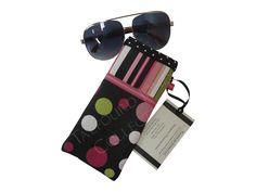 Black Polka Dot Eyeglasses Case - Stripe Glasses Pouch - Fabric Eyeglass Case - Padded Glasses Pouch - Ladies Gift - Christmas Gift by TalfourdJones on Etsy