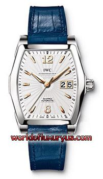 IWC - DA VINCI AUTOMATIC MEN'S WATCH - IW452305 (STAINLESS STEEL / SILVER DIAL / BLUE LEATHER STRAP)