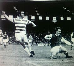 Celtic 3 Hibernian 5 in August 1972 at Hampden Park in the Drybrough Cup Final. Bobby Murdoch fires at goal.