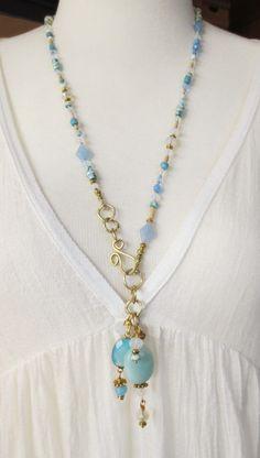 Brass necklace unique handmade bohemian blue mint turqoise glass gems Boho Kette Messing Handarbeit Unikat Hippie blau Türkis Mint gold