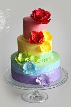 Rainbow cake - Cake by Irina Kubarich.I will copy this cake . Gorgeous Cakes, Pretty Cakes, Cute Cakes, Amazing Cakes, Fancy Cakes, Mini Cakes, Cupcake Cakes, Cake Original, Rainbow Food
