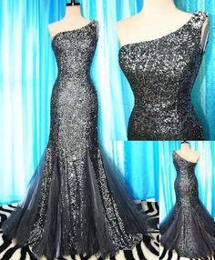 Black Sequin Tulle Long Prom Dresses Party Bridesmaid Dresses Women Dresses