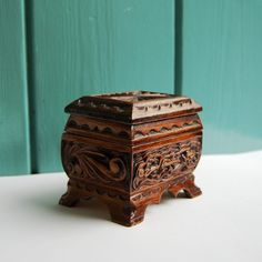 Hand-carved Wood Box Decoupage Cabin in Forest Scene Curio Box with Etched Floral Mirror with Fabric Lined Interior