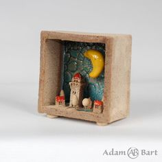 Ceramic Diorama / Tiny House / Small Town / Pottery / Moon / Unique / Sculpture / 3D Picture / Small House / Hand Made / Frames / Clay (241) by Euble on Etsy