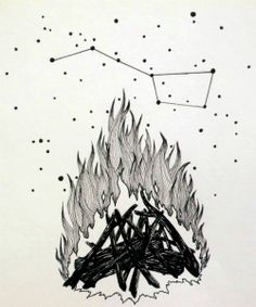 campfire and constellations illustration, 2013, witchmoss artist Ronnie J Packe