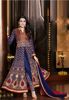 Embroidered Blue & Red Georgette Semi Stitched Party Wear Anarkali Suit  #indiananarkalisuitsonline