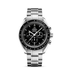 Speedmaster Moonwatch Co-Axial Chronograph 44.25 mm - ref. 311.30.44.50.01.001 : The OMEGA Speedmaster is one of OMEGA's most iconic timepieces. Having been a part of all six lunar missions, the legendary Speedmaster is an impressive representation of the brand's adventurous pioneering spirit. This numbered edition model features a black enamel dial graced by a small seconds sub-dial, 30-minute recorder and 12-hour recorder along with a central chronograph and scratch-resistant sapphire ...