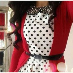I love the idea of putting a red sweater together with a white and black polka dots dress. ♡