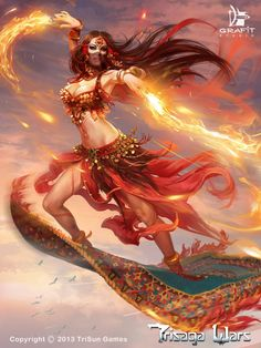 """unlikely to be 'Magian fire worshipper,' though prob'ly. from/in/around Ylaruam region(s), or Jaibul. [diefantasie: Trisaga Wars by Viktor Titov from """"Grafiti Art"""" (A World of Fantasy)] Fantasy Girl, 3d Fantasy, Fantasy Kunst, Fantasy Warrior, Fantasy Women, Digital Art Fantasy, Fantasy Inspiration, Character Inspiration, Character Art"""