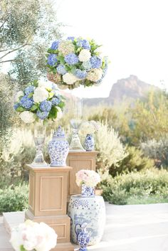 Twilight blue and blush pink wedding. Periwinkle and white hydrangeas, and blush pink and white roses. Blue and white damask vases. Bride in a twilight blue wedding dress and groom in a white dinner jacket. Daisy Wedding Flowers, Country Wedding Flowers, Wedding Flower Decorations, Wedding Themes, Decor Wedding, Wedding Favors, Wedding Ideas, Pink Wedding Makeup, Pink Wedding Dresses