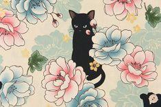 HALF YARD Quilt Gate Hyakka Ryoran NEKO cats in ivory cream white cotton fabric HR3110-11A by kimonomomo