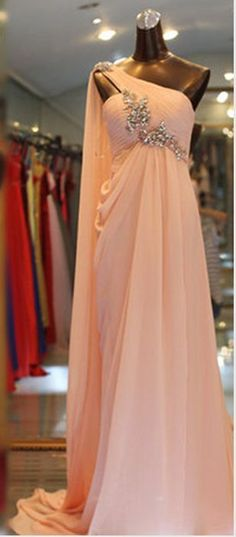 One Shoulder Pink Prom Dress,Long Evening Prom Dress,One Prom Dresses Long Pink, Sexy Dresses, Bridal Dresses, Beautiful Dresses, Dress Long, Party Gowns, Party Dress, One Shoulder Prom Dress, Dress First