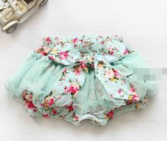 Vintage Floral Tutu Shorts - Baby Blue