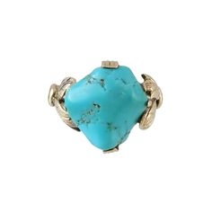 Vintage 14K Rose Gold Turquoise Nugget Ring, c. 1940s or 1950s. $595