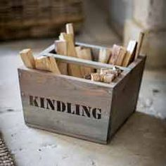 Wooden Kindling Box By Garden Trading. This rustic looking Wooden Kindling Box by Garden Trading is the perfect accessory for the fireside. Firewood Storage, Wooden Storage Boxes, Wood Boxes, Storage Baskets, Seed Storage, Firewood Rack, Kitchen Storage, Fireplace Accessories, Home Accessories