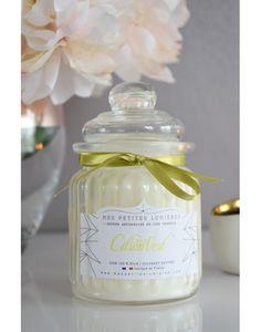 Bougie bonbonnière en cire de soja, parfumée Coco citron vert.