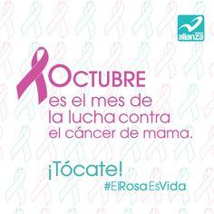 Octubre es el mes de la lucha contra el cáncer de mama. ¡Tócate! #ElRosaEsVida