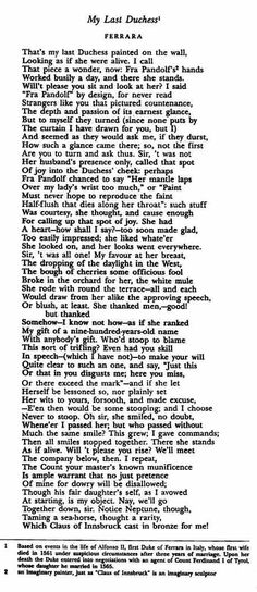 """My Last Duchess"" ~ Robert Browning"