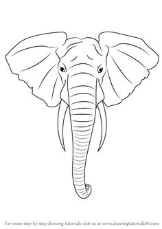 Learn How to Draw an Elephant Head (Zoo Animals) Step by Step elephant drawing - Drawing Tips Elephant Face Drawing, Elephant Art, Elephant Design, Elephant Head Tattoo, Elephant Drawings, Elephant Sketch, Line Drawing, Drawing Tips, Learn Drawing