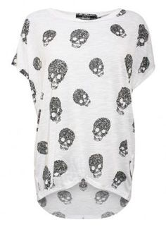 All Over Skulls Diamante Top - by Pilot,  Top, All Over Skulls Diamante Top by, Casual
