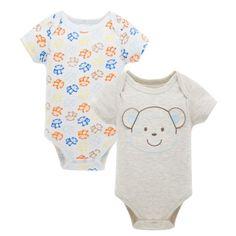 2-Pack Cotton Cartoon Monkey Unisex Baby Onesies Long Sleeve Grey